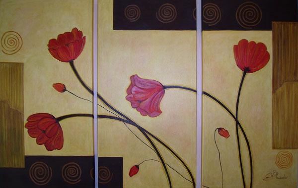 Flores tr ptico cuadros abstractos for Fotos de cuadros abstractos minimalistas